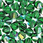 Swarovski Crystal Beads 4mm bicone 5328 dark moss green ab transparent iridescent