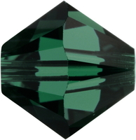 Swarovski Crystal Beads 4mm bicone 5328 emerald (dark green) transparent