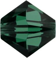 Swarovski Crystal Beads 4mm bicone 5328 emerald (dark green) transparent