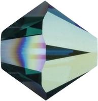 Swarovski Crystal Beads 4mm bicone 5328 emerald ab (dark green) transparent iridescent