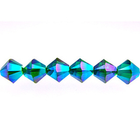 Swarovski Crystal Beads 4mm bicone 5328 emerald ab 2X (dark green) transparent double iridescent