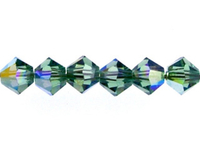 Swarovski Crystal Beads 4mm bicone 5328 erinite ab (blueish green) transparent iridescent