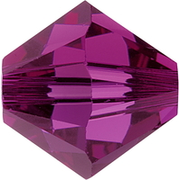 Image Swarovski Crystal Beads 4mm bicone 5328 fuchsia (dark pink) transparent