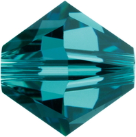 Swarovski Crystal Beads 4mm bicone 5328 indicolite (blue green) transparent