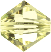 Image Swarovski Crystal Beads 4mm bicone 5328 jonquil (pale yellow) transparent