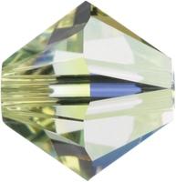 Swarovski Crystal Beads 4mm bicone 5328 jonquil ab (pale yellow) transparent iridescent
