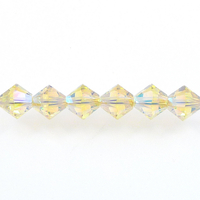 Swarovski Crystal Beads 4mm bicone 5328 jonquil ab 2X (pale yellow) transparent double iridescent