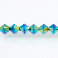 Swarovski Crystal Beads 4mm bicone 5328 jet ab 2X (black) opaque double iridescent