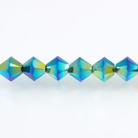 Image Swarovski Crystal Beads 4mm bicone 5328 jet ab 2X (black) opaque double iridesce