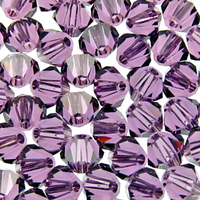Image Swarovski Crystal Beads 4mm bicone 5301 lilac purple transparent