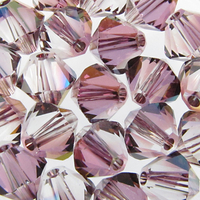 Image Swarovski Crystal Beads 4mm bicone 5328 crystal lilac shadow transparent with fi
