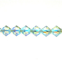 Swarovski Crystal Beads 4mm bicone 5328 light azore ab 2X (pale aqua blue) transparent double iridescent