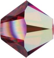Swarovski Crystal Beads 4mm bicone 5328 light siam ab (light red) transparent iridescent