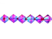 Swarovski Crystal Beads 4mm bicone 5328 light siam ab 2X (light red) transparent double iridescent