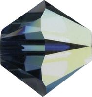 Swarovski Crystal Beads 4mm bicone 5328 montana ab (greyish blue) transparent iridescent