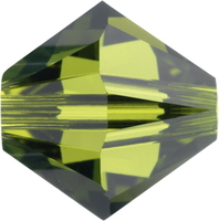 Image Swarovski Crystal Beads 4mm bicone 5328 olivine (olive green) transparent