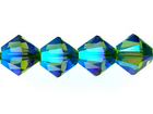 Swarovski Crystal Beads 4mm bicone 5328 olivine ab 2X (olive green) transparent double iridescent