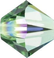 Image Swarovski Crystal Beads 4mm bicone 5328 peridot ab (light green) transparent iri