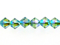 Swarovski Crystal Beads 4mm bicone (5301 and 5328) peridot ab 2X (light green) transparent double iridescent