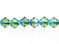 Swarovski Crystal Beads 4mm bicone 5328 peridot ab 2X (light green) transparent double iridescent