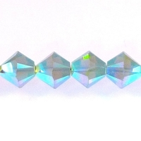 Swarovski Crystal Beads 4mm bicone 5328 pacific opal ab 2X (blue green) opalescent double iridescent