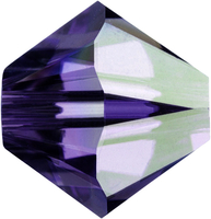 Image Swarovski Crystal Beads 4mm bicone 5328 purple velvet ab (dark royal purple) tra