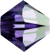 Swarovski Crystal Beads 4mm bicone 5328 purple velvet ab (dark royal purple) transparent iridescent