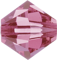 Swarovski Crystal Beads 4mm bicone 5328 rose (pink) transparent