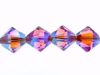 Swarovski Crystal Beads 4mm bicone 5328 rose ab 2X (pink) transparent double iridescent