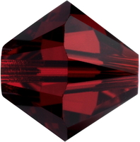 Swarovski Crystal Beads 4mm bicone 5328 siam (deep red) transparent