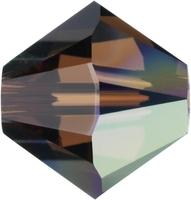 Swarovski Crystal Beads 4mm bicone 5328 smoked topaz ab (dark brown) transparent iridescent