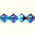 Swarovski Crystal Beads 4mm bicone (5301 and 5328) smoked topaz ab 2X (dark brown) transparent double iridescent