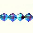 Swarovski Crystal Beads 4mm bicone 5328 smoked topaz ab 2X (dark brown) transparent double iridescent