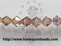 Swarovski Crystal Beads 4mm bicone 5328 light smoked topaz ab (brown) transparent iridescent