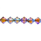 Swarovski Crystal Beads 4mm bicone 5328 light smoked topaz ab 2X (brown) transparent double iridescent