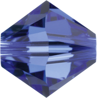 Image Swarovski Crystal Beads 4mm bicone 5328 sapphire (blue) transparent