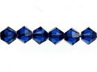 Swarovski Crystal Beads 4mm bicone (5301 and 5328) dark sapphire (blue) transparent
