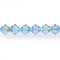 Swarovski Crystal Beads 4mm bicone 5328 light sapphire ab 2X (pale blue) transparent double iridescent
