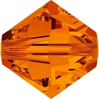 Swarovski Crystal Beads 4mm bicone 5328 tangerine (orange) transparent