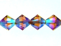 Swarovski Crystal Beads 4mm bicone 5328 topaz ab 2X (gold) transparent double iridescent