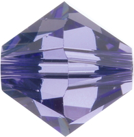 Swarovski Crystal Beads 4mm bicone (5301 and 5328) tanzanite (blueish purple) transparent
