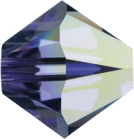 Swarovski Crystal Beads 4mm bicone 5328 tanzanite ab (blueish purple) transparent iridescent