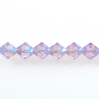 Swarovski Crystal Beads 4mm bicone 5328 violet ab 2X (purple) transparent double iridescent
