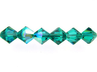 Swarovski Crystal Beads 4mm bicone 5328 blue zircon ab (blue green) transparent iridescent