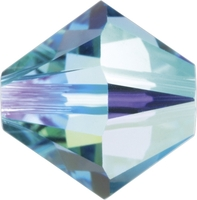 Swarovski Crystal Beads 5mm bicone 5328 aquamarine ab (aqua blue) transparent iridescent