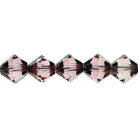 Swarovski Crystal Beads 5mm bicone 5328 crystal antique pink transparent with finish