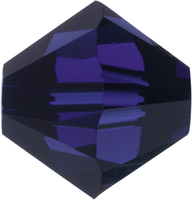 Image Swarovski Crystal Beads 5mm bicone 5328 dark indigo (deep blue) transparent