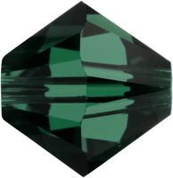 Swarovski Crystal Beads 5mm bicone 5328 emerald (dark green) transparent