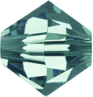 Swarovski Crystal Beads 5mm bicone 5328 erinite (blueish green) transparent