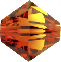 Swarovski Crystal Beads 5mm bicone (5301 and 5328) fire opal (red & orange) transparent